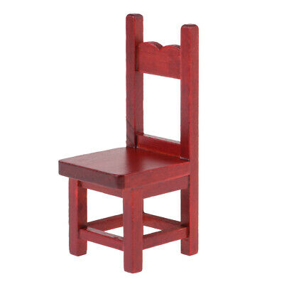 Dollhouse Furniture 1/12 Scale Miniature Red Solid Wooden Stool Chair Model