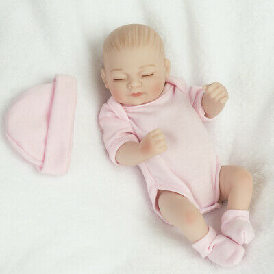 "10""Realistic Full Silicone Vinyl Reborn Girl Doll Friendly Lifelike Newborn Baby"