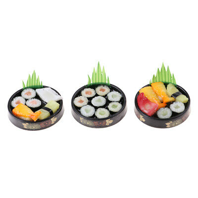 3pcs 1/6 Dollhouse Decor Miniatures Vivid Japanese Food Sushi - Round Plate