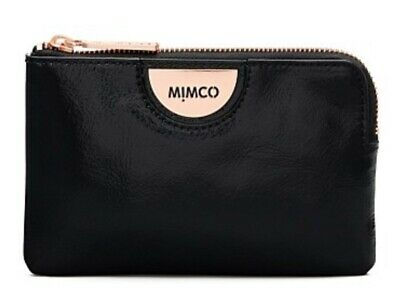 MIMCO Echo Black Pouch Leather Wallet Clutch Purse Rose Gold BNWT Authentic New