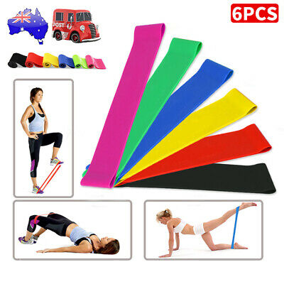 6x Resistance Bands Loop Set For GYM Legs Arms Booty Yoga Physio Exercise