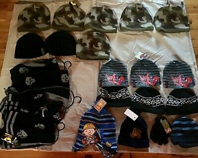 Bnwt Boys Size 3-6 And 7-14  Beanies; Scarves And 1 Pair Gloves - 23 Items