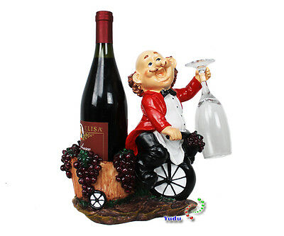 Waiter in Red Suit Decor Glass Holder Wine Bottle Kitchen Catering nr: 9137
