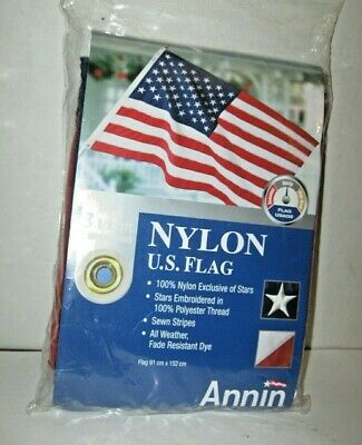 Annin Us American Flag 3X5 Nylon With Grommets & Embroidered Stars Free Shipping