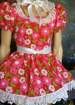 MADE TO MEASURE * SISSY MAID * ADULT BABY * FETISH * CD/TV *  daisy pink dress