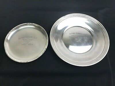 Set of 2 Sterling Silver .925 Plates, DuPont Country Club Tennis Trophy 1951