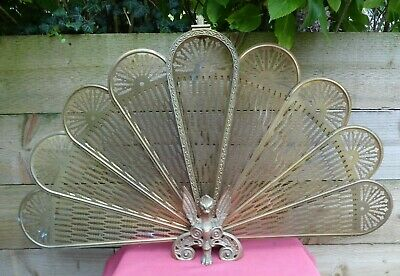 Vintage Brass Peacock Phoenix Folding Firescreen Fire Screen