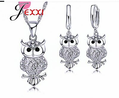 OWL Collier Cubic Zirconia Cute Necklace and Ear Rings 925 Sterling Silver