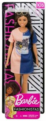 Fashionistas Barbie 13.25-Inch Doll #103 [Brunette with Color-Blocked Dress]
