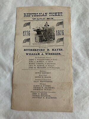 1876 Rutherford B Hayes & Wheeler Republican Campaign ticket Ballot Political