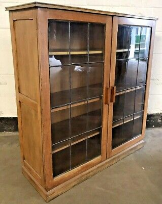 OLD ANTIQUE VINTAGE SOLID OAK LEADED GLASS 4ft BOOKCASE SHELVING DISPLAY CABINET