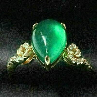 Gorgeous Pear Green Emerald Ring Women Wedding Engagement Jewelry Gift Free Ship