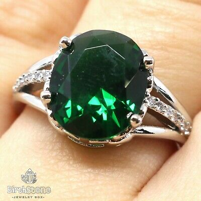 2.5 Ct Oval Green Emerald Solitaire Ring Engagement Wedding Gold Plated