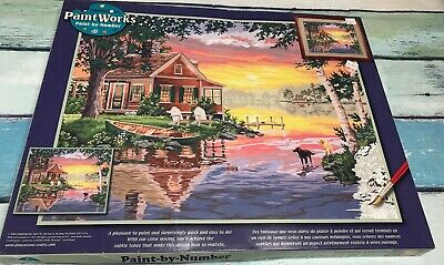 NIB Paint Works Dimensions Paint By Number Sunset Cabin Gorgeous  ~*~ New