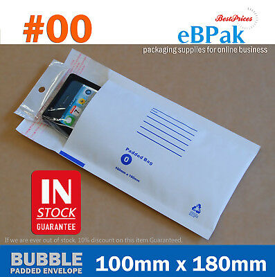 200x Bubble Envelope #00 100mm x 180mm White Padded Bag Mailer - Sydney Special