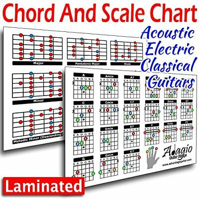Music Learning 2-Side Chord & Scale Lesson Chart For Guitars Electric Classical.
