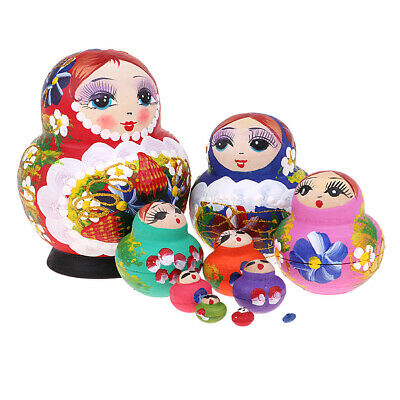 10pcs Wooden Craft Babushka Russian Nesting Doll Hand Painted Colorful Flower