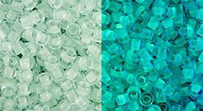 Toho 11//0 Seed Beads Glow In The Dark Baby Blue //Glow Bright Green 28Grams