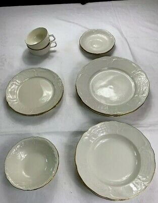 Lot 11 Rosenthal Classic Rose  Ivory Salad Plates Scalloped  Gold Trim EUC