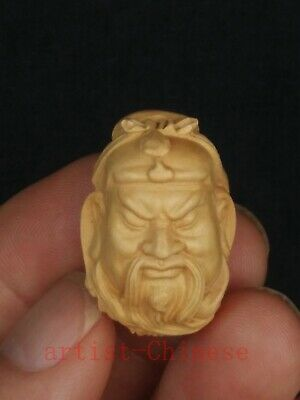 Collection Old Chinese Boxwood Wood Hand Carving Guan Yu Head Statue Pendant