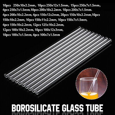 100-250mm Thick Wall Borosilicate Glass Blowing Tube Pipe Pyrex Lab 18 Types