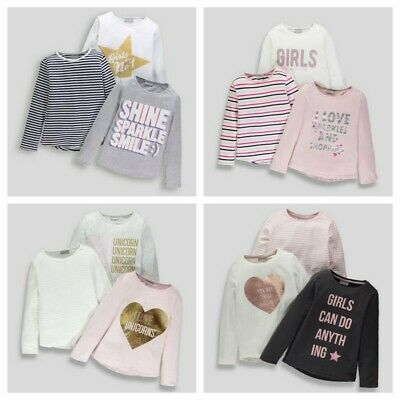 Girls  BNWT  3 pack long sleeve  tops stripe slogan grey pink white Matalan (AP)