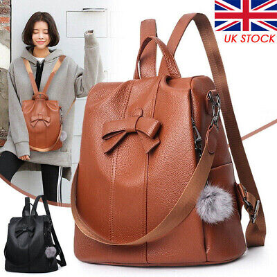 UK Women's Leather Backpack Anti-Theft Rucksack School Shoulder Bag Black/Brown