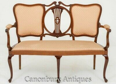 Victorian Loveseat - Antique Mahogany Couch Seat 1890