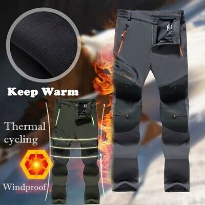 Waterproof Mens Thicken Fleece Lined Pants Outdoor Casual Sport Hiking Trousers