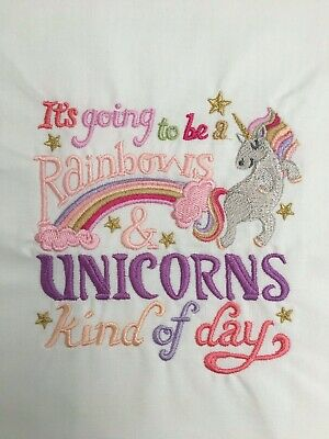 RAINBOW AND UNICORNS Quilt Block Cushion Panel on MODA FABRIC MACHINE EMBROIDERY