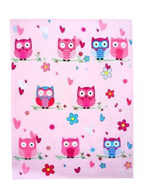 EXTRA LARGE Owl Printed Fleece Blanket Girls Kid Children Bed Travel Throw