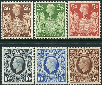George VI 1939-1951 Sg 476-Sg 512 High Values Lightly Mounted Mint Single Stamps