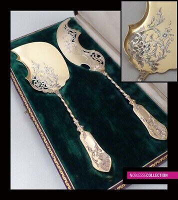 ANTIQUE 1880s FRENCH STERLING/SOLID SILVER & VERMEIL 18k GOLD ICE CREAM SET 2pc