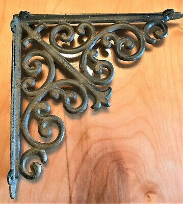 "Iron Shelf 10"" Bracket Rustic Brown Scroll Decor Vtg Reproduction"
