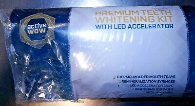 Active Wow Premium Teeth Whitening Kit With LED Accelerator New