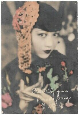 Rare Anna May Wong Hand-Tinted Fan Card 1930 Vintage Photograph Signed in Plate