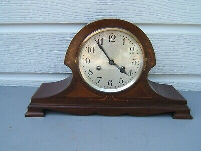 Mantel clock Art-Deco Mahogany inlaid striking keeping great time        M4