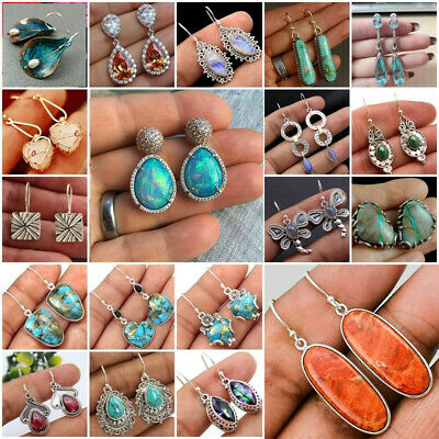 Women Vintage 925 Silver Plating Moonstone Drop Dangle Earrings Ear Hook Jewelry