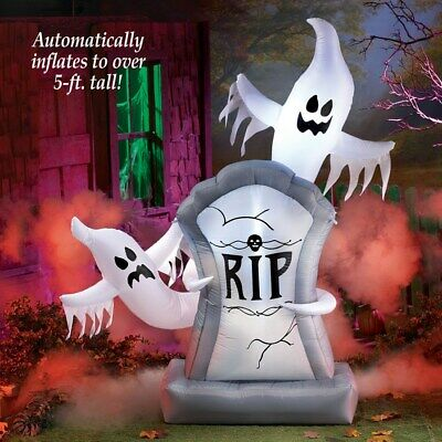 5 Ft Lighted Airblown Inflatable RIP Ghostly Tombstone Halloween Yard Decoration