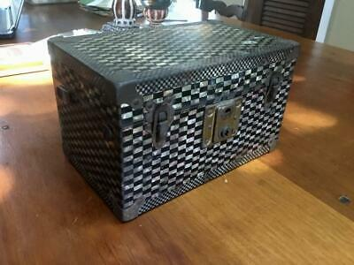 Antique / Vintage Metal & Wood Storage Box~Mother of Pearl~Unique & Rare! DECO