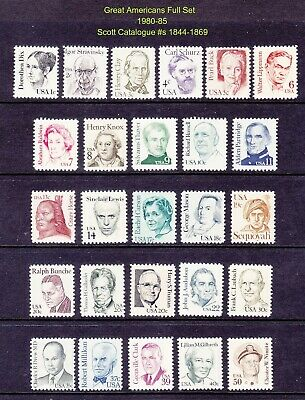 US 1844-69 MNH 1980-85 1¢-50¢ Great Americans Full 26 Stamp Set Very Fine