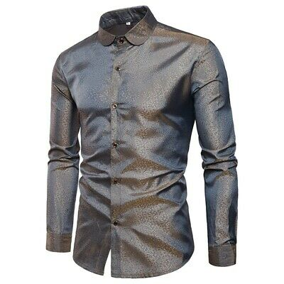 Men's Stand Collar Long Sleeve Shirts Slim Shiny Button Front Sexy Tops Clubwear