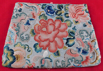 Antique Chinese Forbidden Stitch Silk Embroidery Peony Butterfly Robe Trim Purse