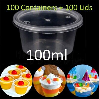 100set 100ml Plastic Dipping Sauce Disposable Small Container Cups Lids Takeaway