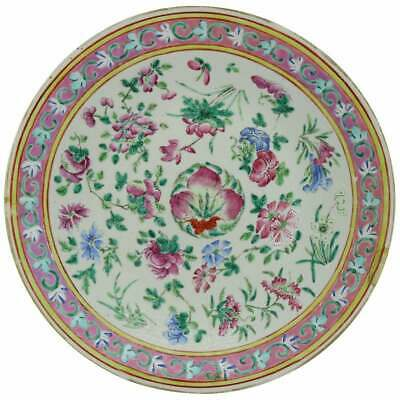 Antique Chinese Export Hand Painted Porcelain Floral Charger, Early 20th Century