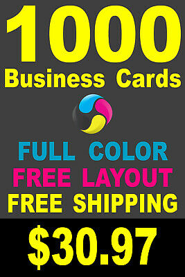 1000 Full Color Gloss Custom Business Cards - FREE Shipping - Printed 1 Side
