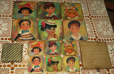 Win-El-Ware Big Eyed Children Set 6 Coasters / 6 Placemat Vintage 50/60s England