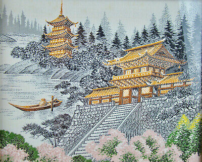 Vintage Mid-Century Modern Asian Japanese Temple Pagoda Framed Silk Tapestry