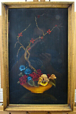 Antique Original Asian Japanese Chinese Floral Still Life Oil Painting Tea Tray