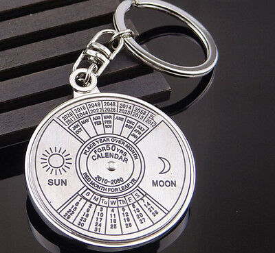 Unique Metal Key Chain Ring 50 Years Perpetual Calendar Keyring Keychain silver